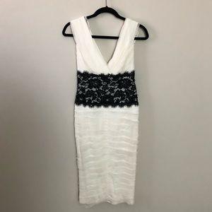 Tadashi Shoji White Silk Lace Beaded Dress